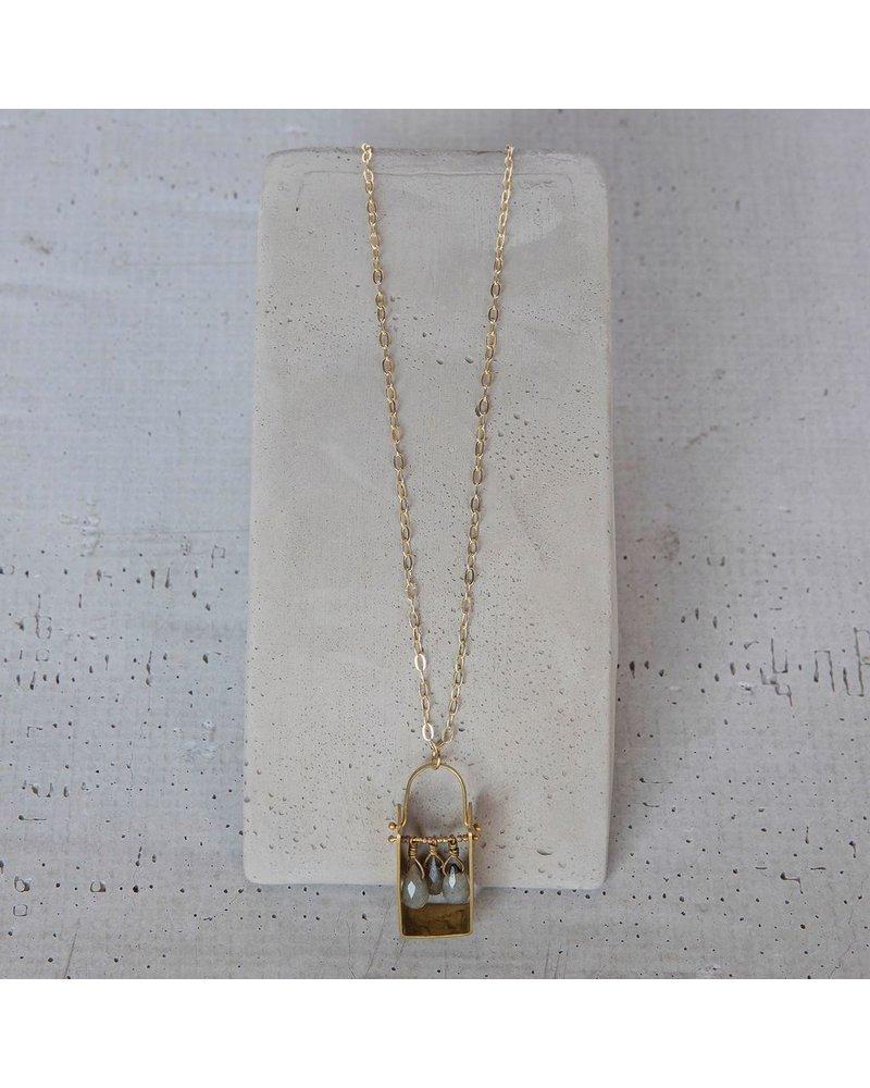 OraTen Boxed Gem Brass Necklace - Labadorite