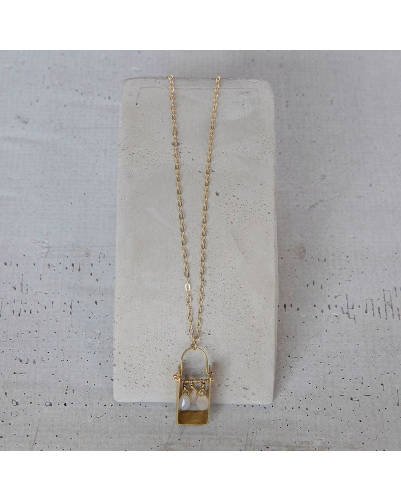 OraTen Boxed Gem Brass Necklace - White Onyx