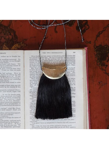 OraTen Brass Fringe Necklace, Black