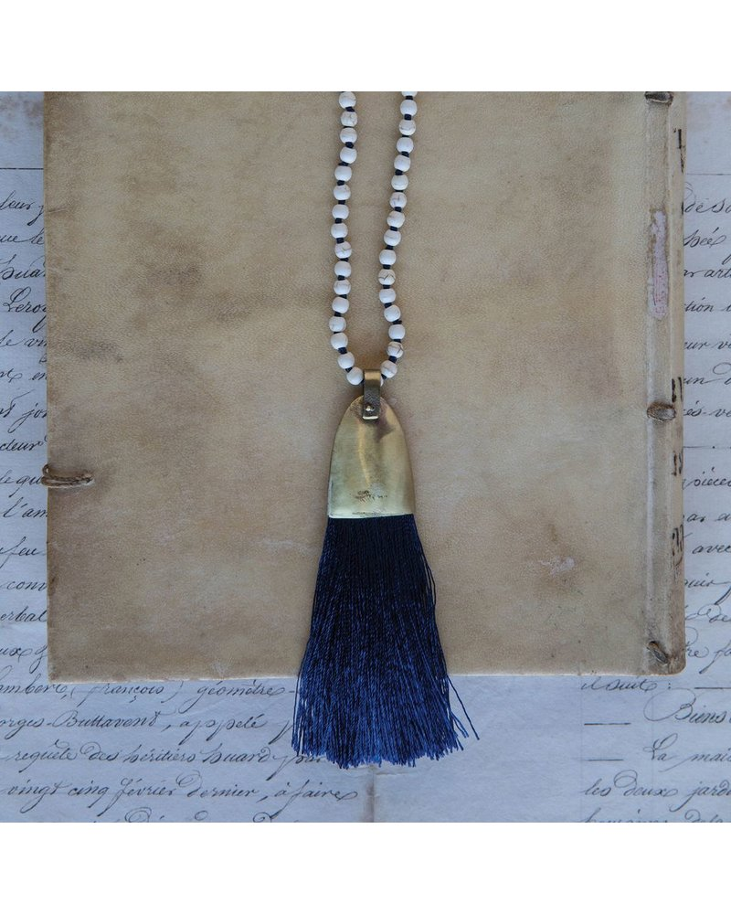 OraTen Brass and Tassel Pendant-Navy