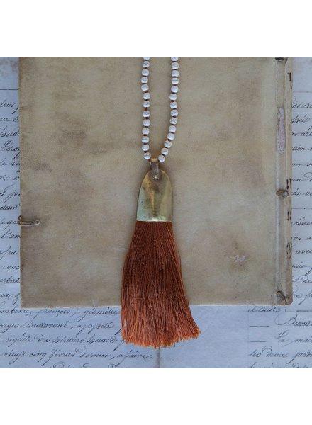 OraTen Brass and Tassel Pendant-Orange