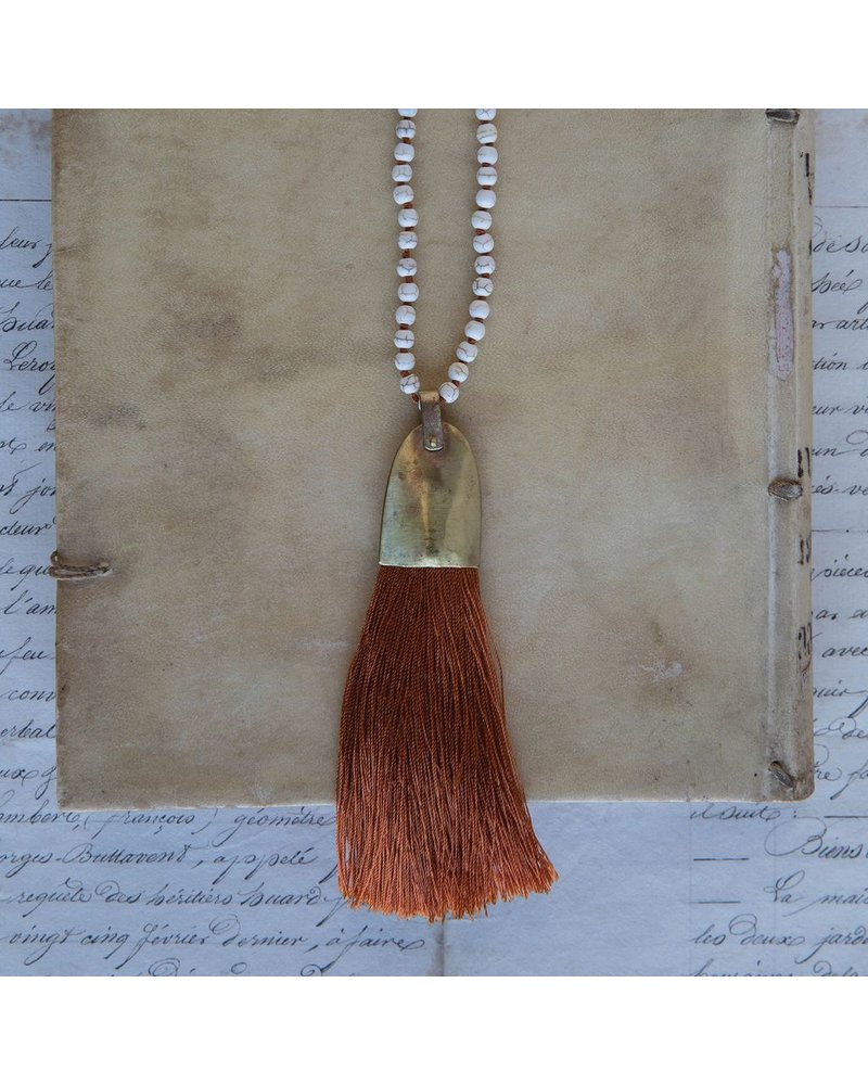 OraTen Brass and Tassel Pendant - Orange