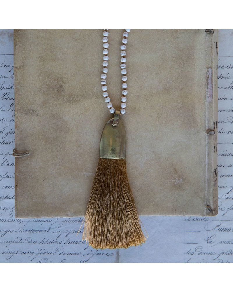 OraTen Brass and Tassel Pendant - Ochre