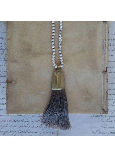 OraTen Brass and Tassel Pendant-Grey