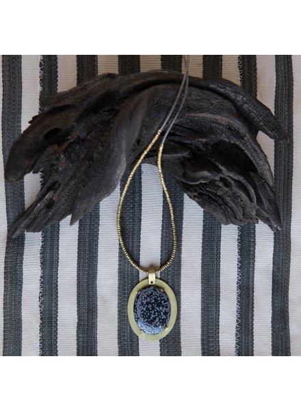 OraTen Prong Set Brass Pendant - Snowflake Obsidian