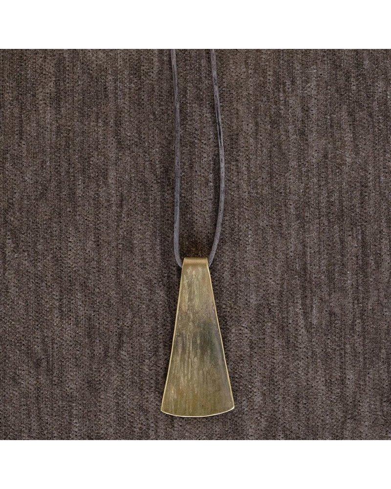 OraTen Gingko Brass Pendant, Long Leaf