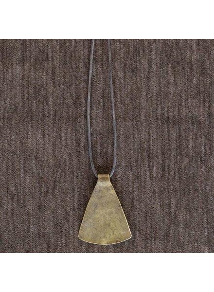 OraTen Gingko Brass Pendant, Wide Leaf