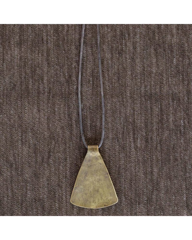 OraTen Gingko Brass Pendant, Wide Leaf