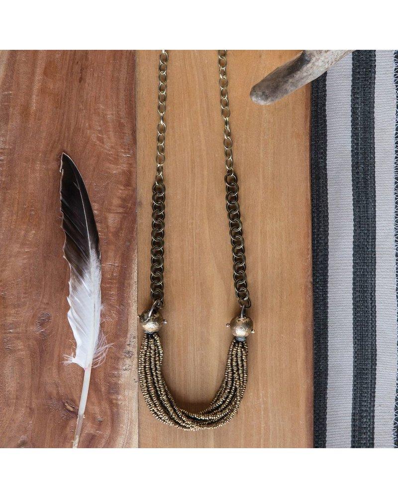 OraTen Nile Brass Bead Strand Necklace