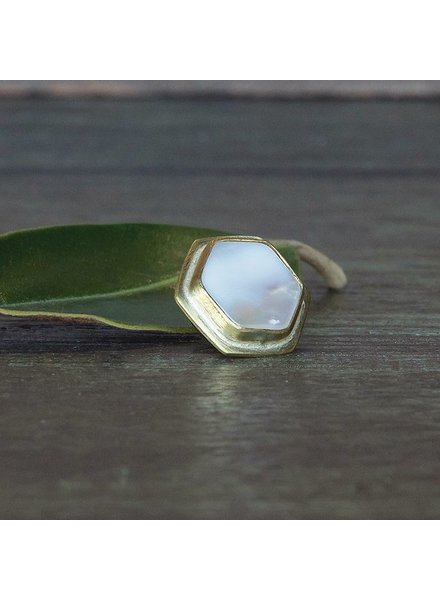 OraTen Lapel Brass Pin-Mother of Pearl - Hexagon