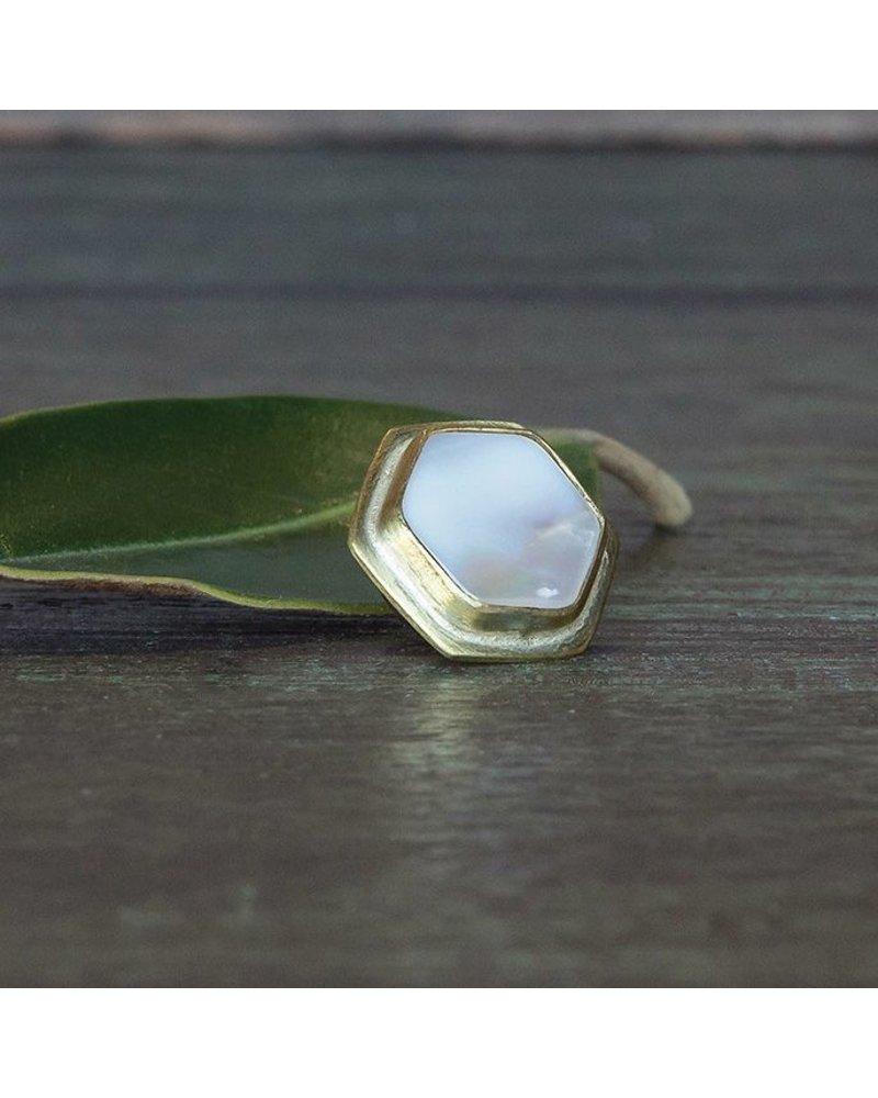 OraTen Lapel Brass Pin - Mother of Pearl - Hexagon