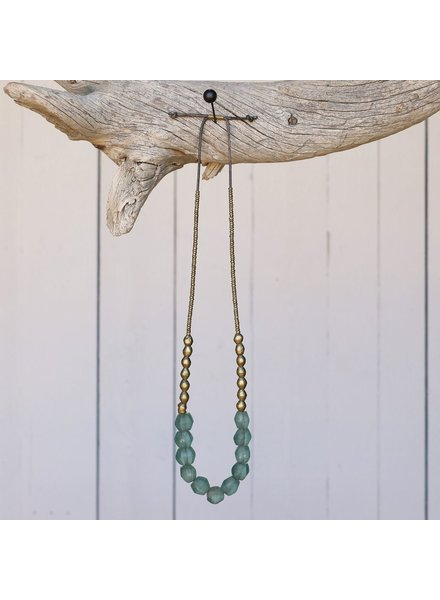 OraTen Seaglass Beaded Brass Necklace - Aqua