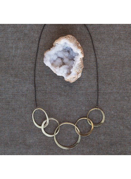 OraTen Elliptical Brass 5 Ring Necklace