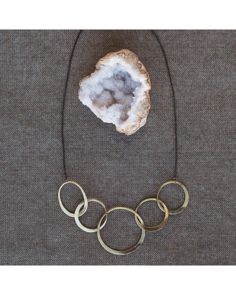 OraTen Elliptical Brass 5 Ring Necklace