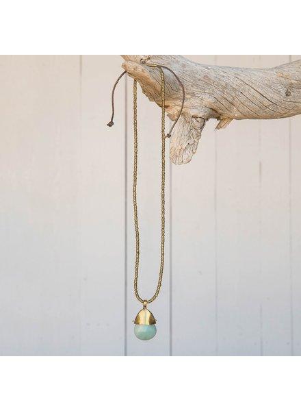 OraTen Beachcomber Brass Necklace with Amazonite Pendant