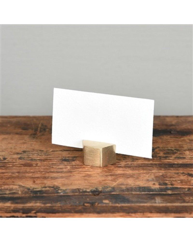 HomArt Brass Cast Iron Hexagon Place Card Holder - Set of 2