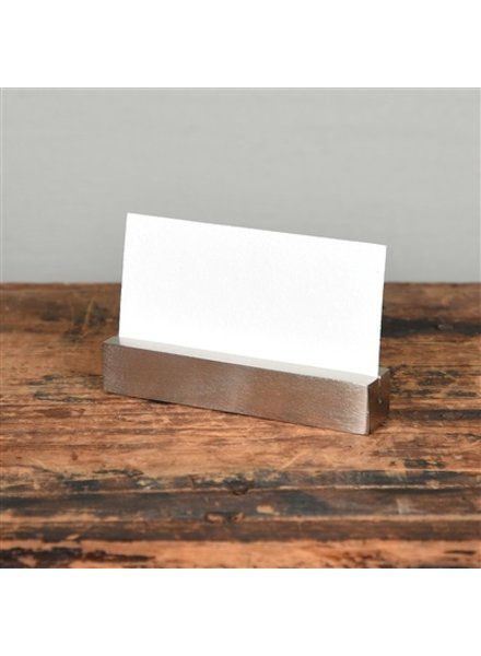 HomArt Nickel Cast Iron Rectangle Bar Place Card Holder - Set of 2