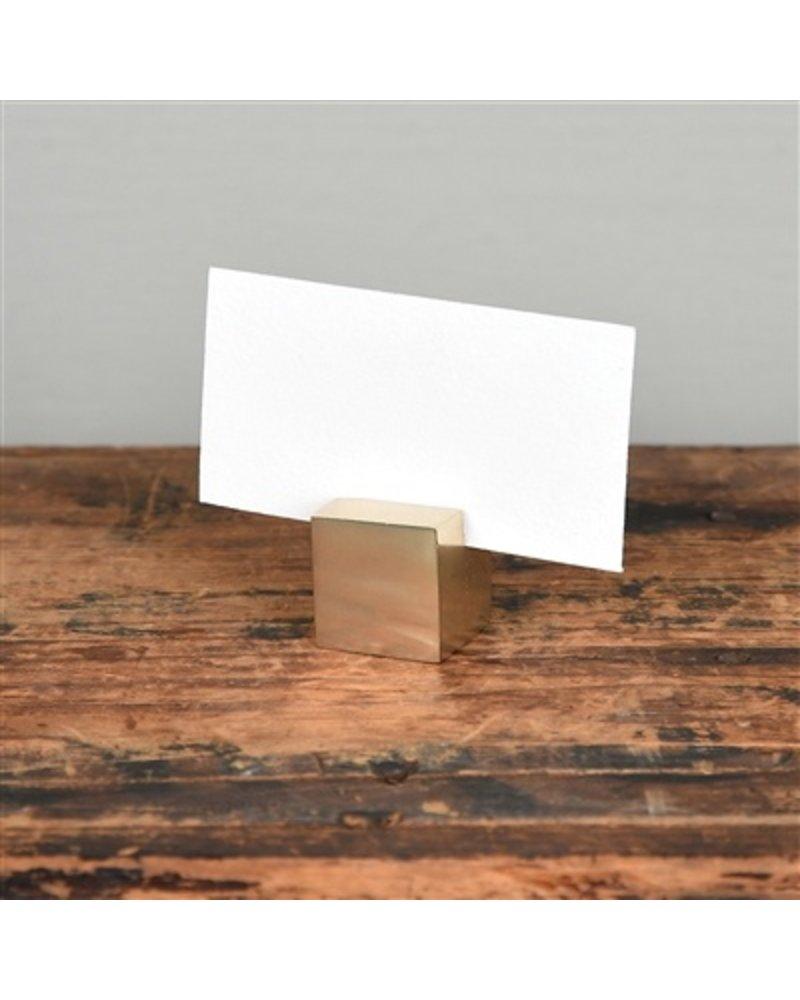 HomArt Brass Cast Iron Cube Place Card Holder - Set of 2