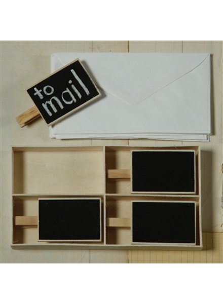 HomArt Natural Wood Chalkboard on Clip - 4 Clips per box - Set of 12 Boxes