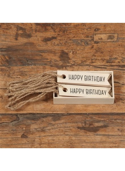 HomArt Gift Wood Hangtag - Box of 12 - Happy Birthday