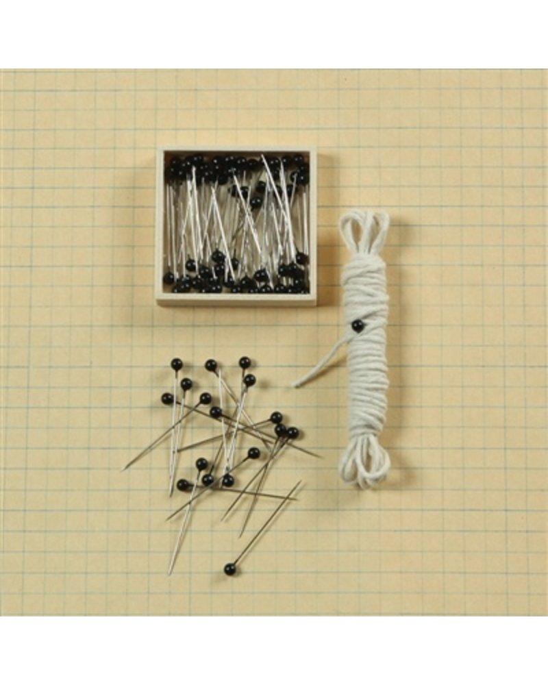 HomArt Black Head Push Pins - Box of 100 -  Set of 12 Boxes