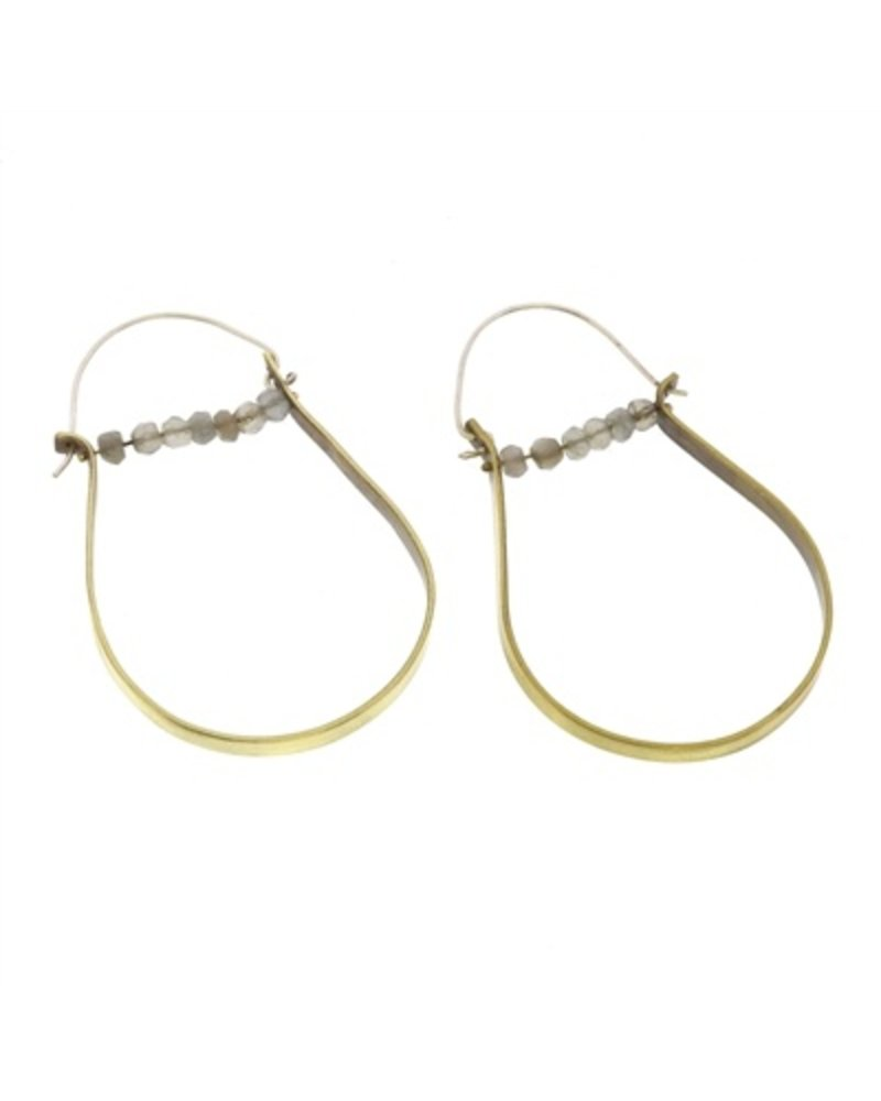 OraTen High Strung Gem Brass Hoop Earring - Grey Moonstone