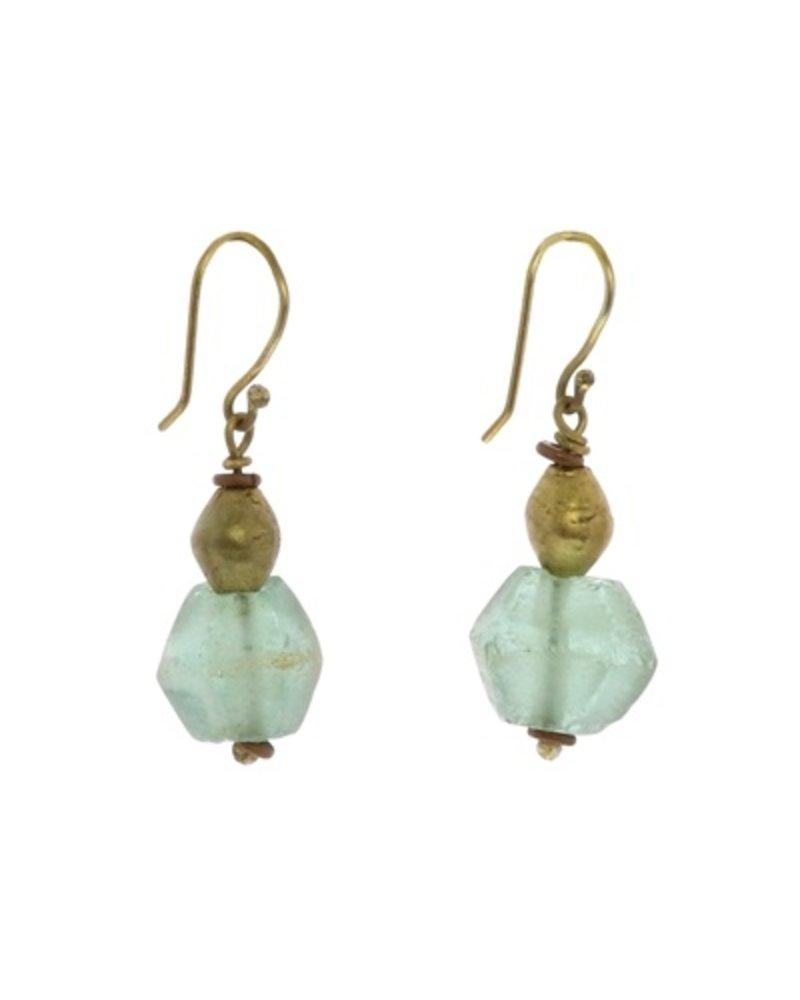 OraTen Seaglass Brass Drop Earrings - Aqua