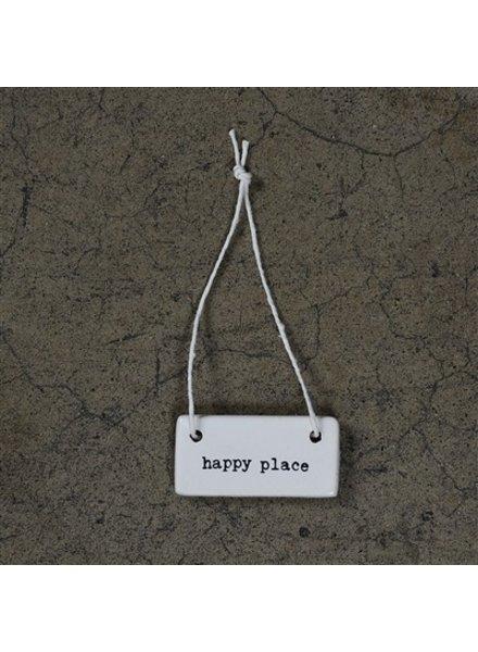HomArt Happy Place Rectangle Ceramic Tag - Set of 4