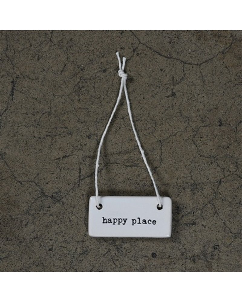HomArt Ceramic Rectangle Tag - Happy Place