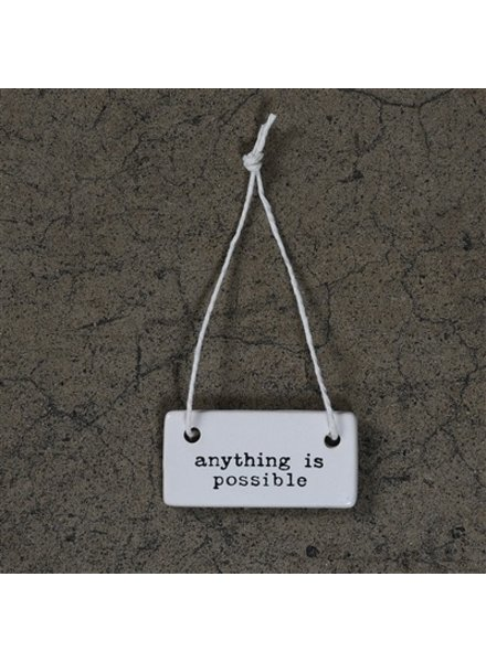 HomArt Anything is Possible Rectangle Ceramic Tag - Set of 4