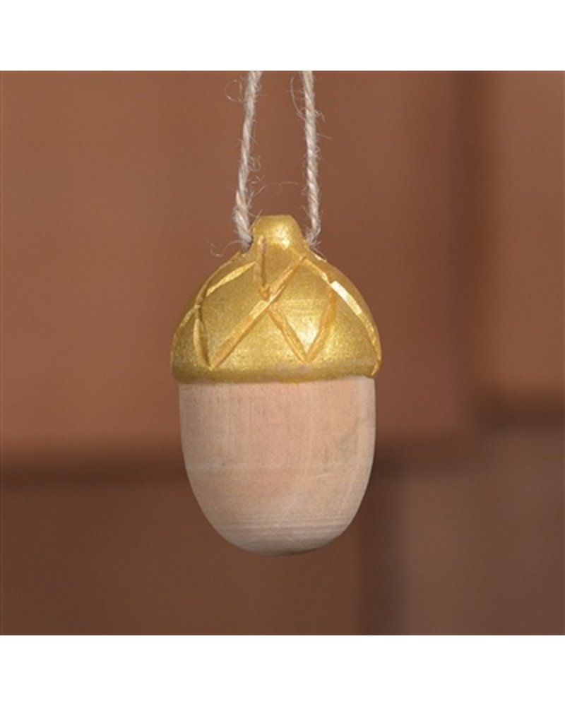 HomArt Carved Wood Acorn in Natural & Gold