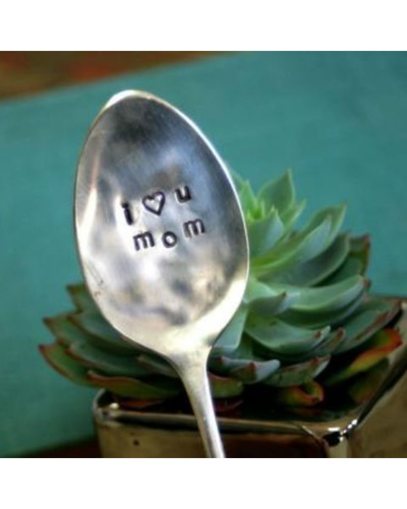 "Monkeys Always Look ""I Heart You Mom"" Stamped Spoon"