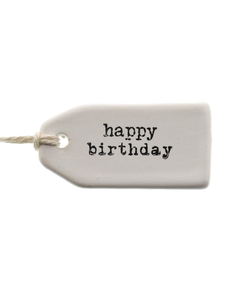 HomArt Happy Birthday Ceramic Tag - Set of 4