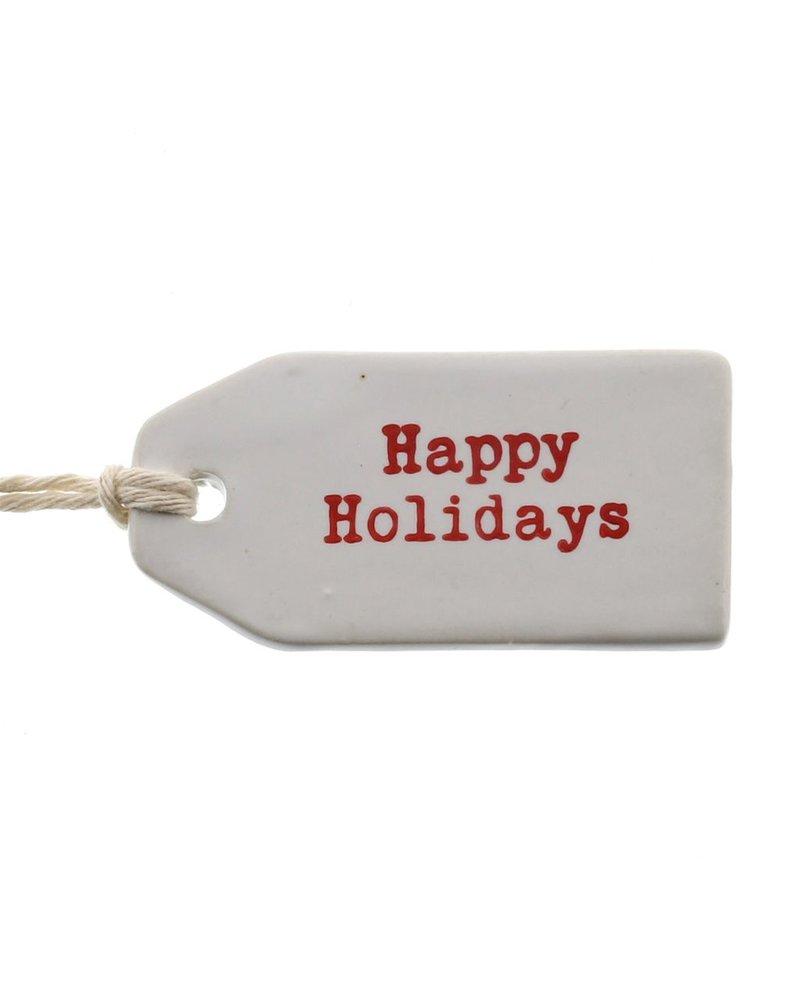 HomArt Ceramic Tag - Happy Holidays