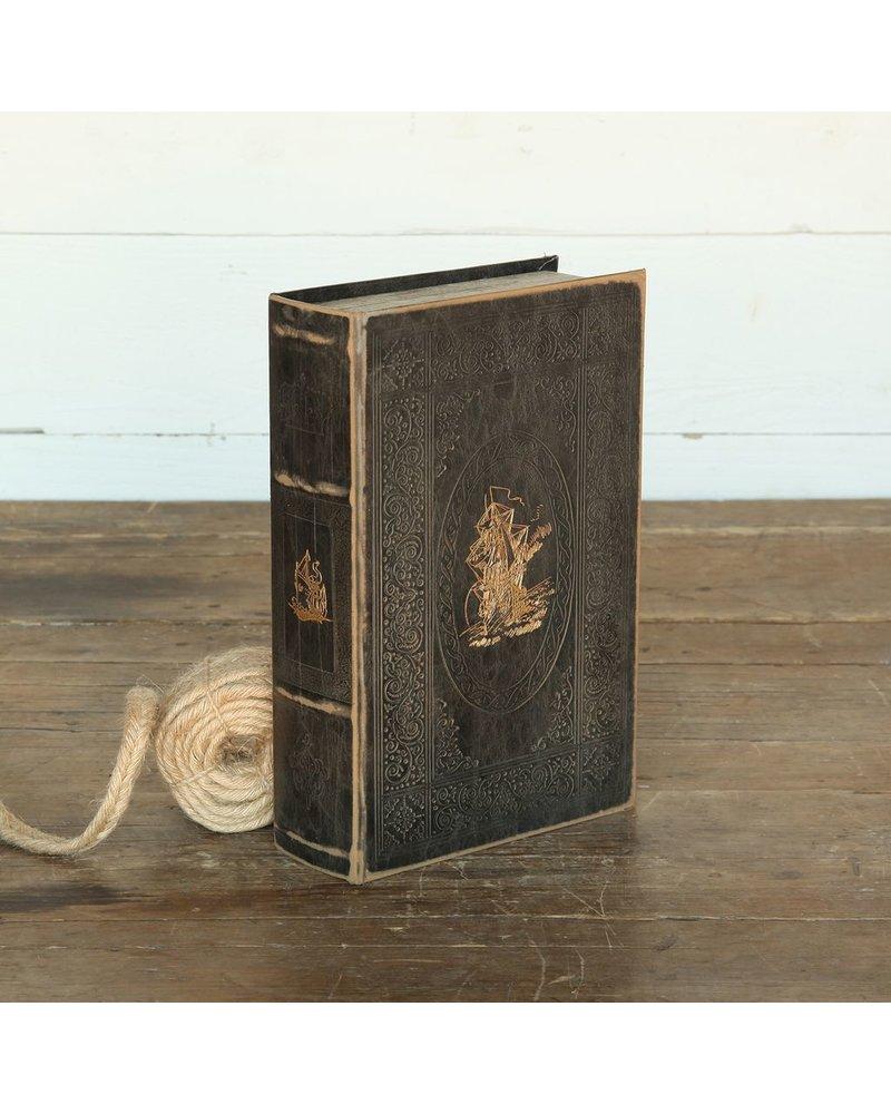 HomArt Maritime Embossed Book Box - Ship - 10.5 in - Black