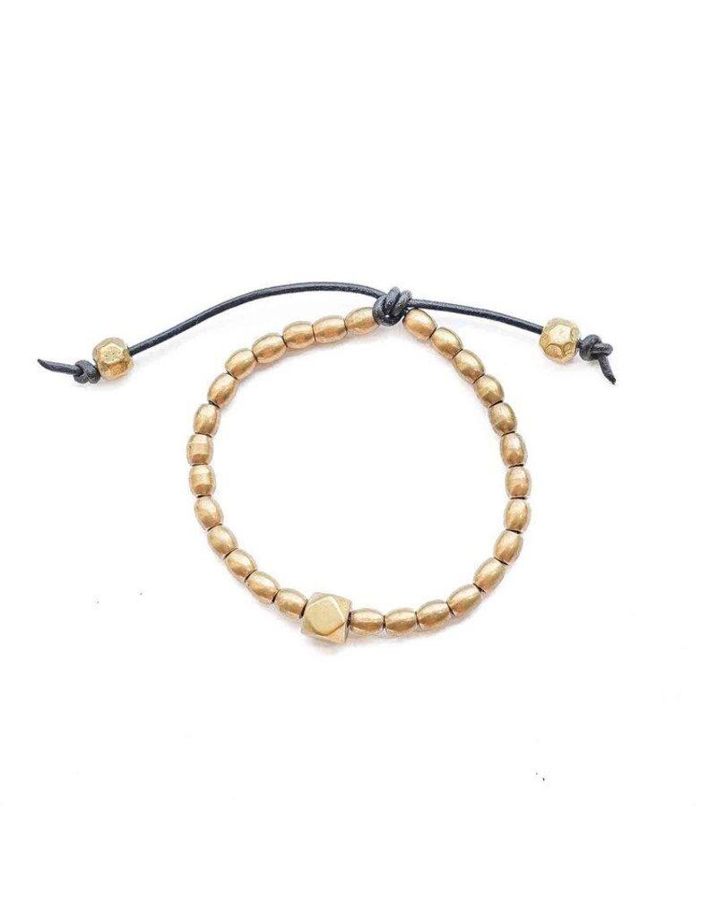 Marisa Mason Mia Seed Black Bracelet on Leather Strap