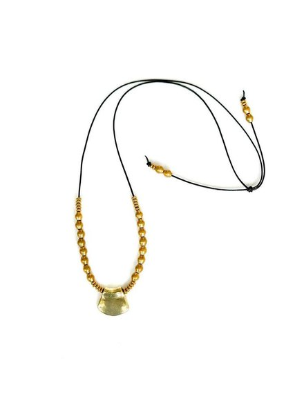 Marisa Mason Kala Black leather & Brass Necklace