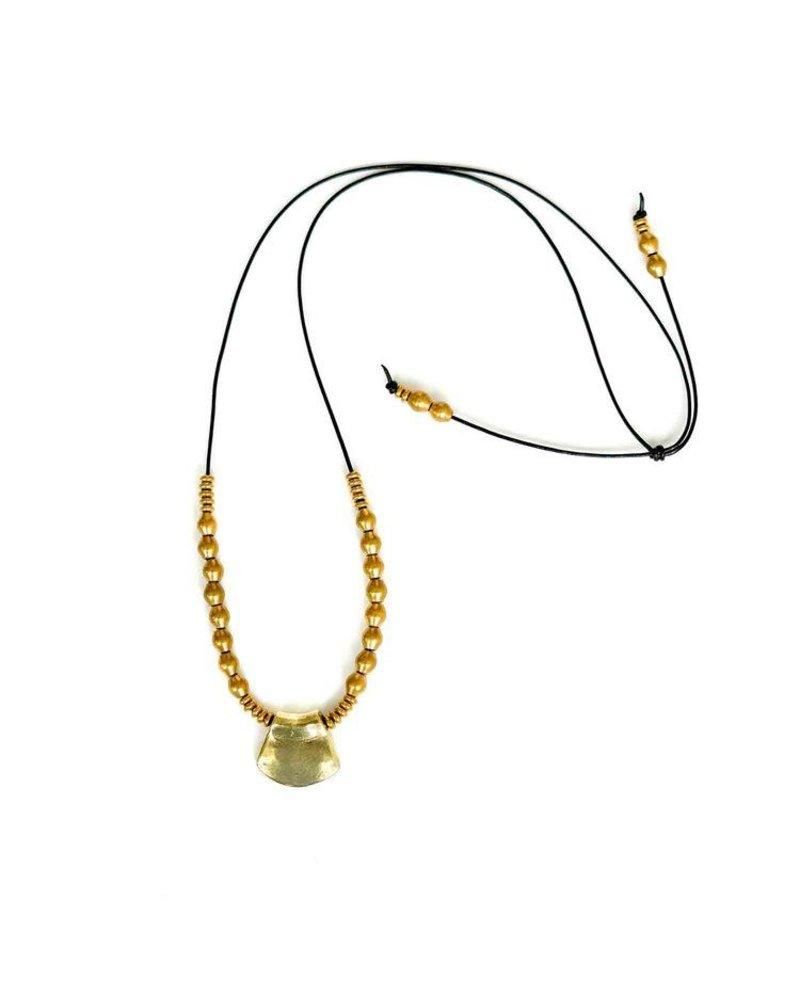 Marisa Mason Kala Black leather & Brass Necklace