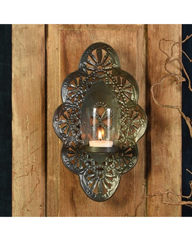 HomArt Sala Iron Wall Sconce with Glass Hurricane - Sm