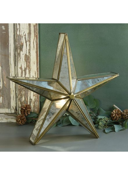 HomArt Glass Star Candle Holder, Mirrored - Lrg