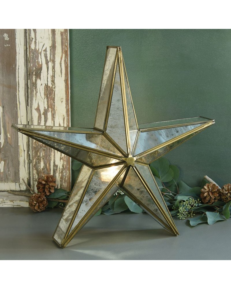 HomArt Glass Star Candle Holder, Mirrored - Lrg