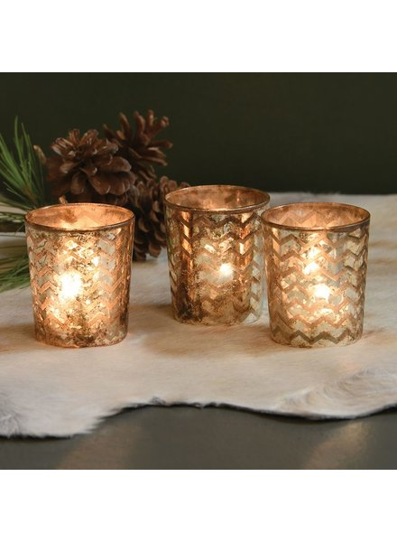 HomArt Chevron Glass Etched Votive - Set of 2