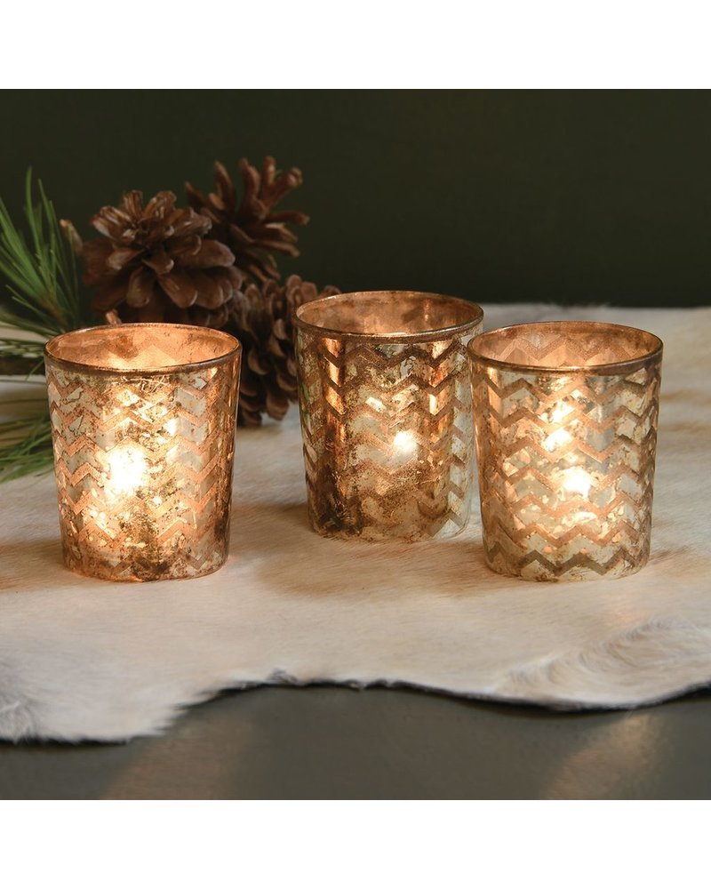 HomArt Chevron Glass Etched Votive
