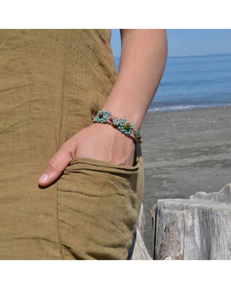 Pixie & Corelli Turquoise & Coral Beaded Charm Bracelet