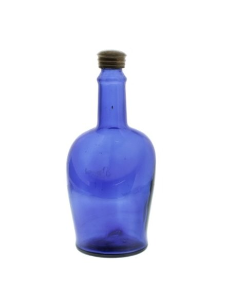 HomArt Glass Bottle Cobalt Blue Tall Neck - Flea Market Find