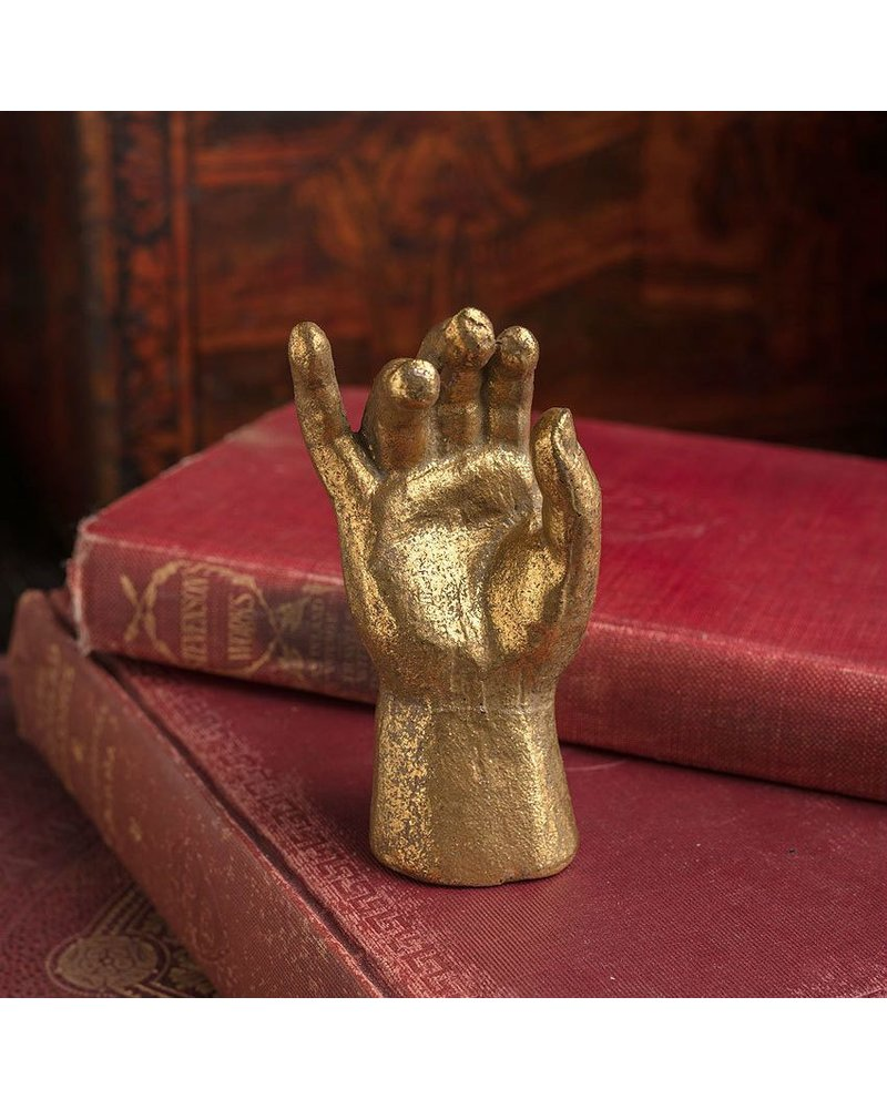 Vagabond Vintage Furnishings Pewter Gold Leaf Saint Hand Small