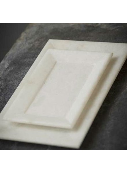 Vagabond Vintage Furnishings Hnad Carved Marble Tray - White