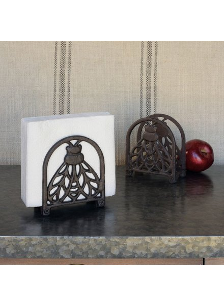 HomArt Bee Napkin Holder, Cast Iron - Black