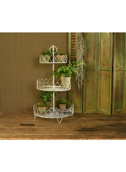 HomArt Veranda Three Tier Wire Stand - Antique White