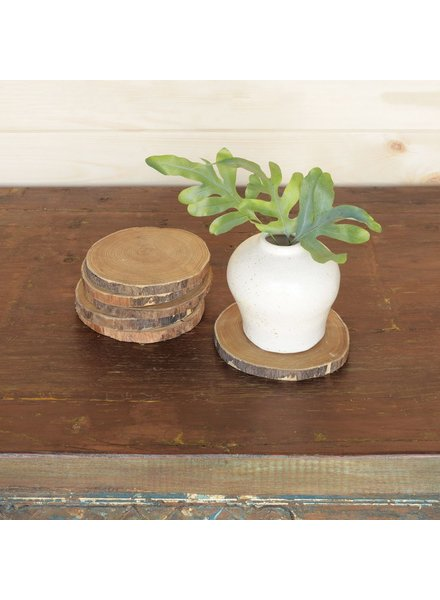 HomArt Wood Slice Coasters, Set of 6
